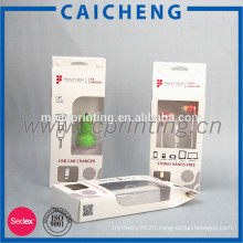 Car charger packaging paper window box with plastic insert
