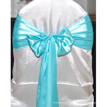 Venta al por mayor Sash silla de satén para bodas y banquetes