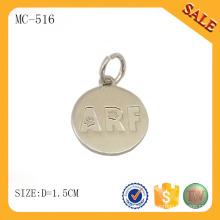 MC516 forme ronde logo personnalisé étiquette bijoux en métal pour bracelet