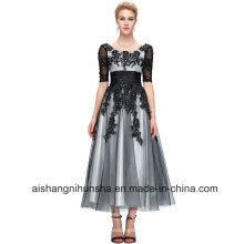 Lange Spitze Abendkleider Elegante Half-Sleeve Ball Abendkleider