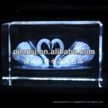 2015 Кристалл 3D пара лебедей лазерной гравировкой для любимого подарки & украшения дома