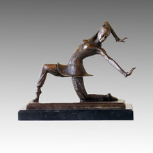 Dancer Bronze Sculpture Lady Carmona Deco Brass Statue TPE-177