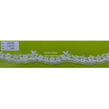 Кружевная ткань Белый кружево вышивка отделкой с цветочным КТК-193