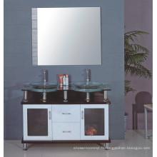 Cabinet de salle de bains en verre de double évier (B-608)