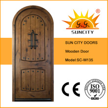 Puerta de madera moderna de lujo de la puerta, diseños de madera sólida de la puerta de la teca (SC-W135)