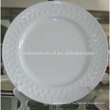 Placa de alimento plana redonda cerâmica gravada