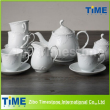 Geprägtes weißes Keramik-Teeset Made in China