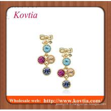 Billets de boucles d'oreille en pierres précieuses en pierres précieuses colorées de haute qualité pour filles
