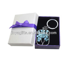 Turquoise Chip stone Woven Square Shape Lucky tree Pendant Keychain with Gift Box