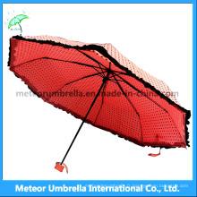 Ladies / Girls Cute Pink Colors Fold Mini Rain / Sunumbrella