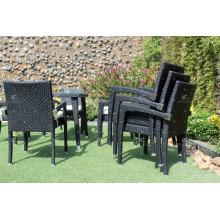 Último patio jardín comedor Set Muebles de mimbre de ratán de poli con sillas apilables