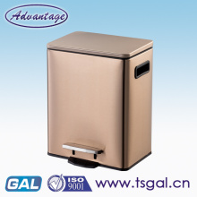 Stainless steel step trash bin