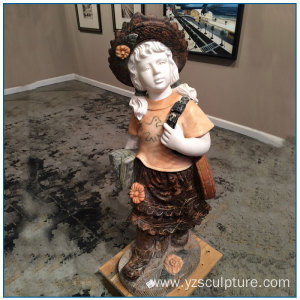 Multi Color Marble Girl Statue with Bag