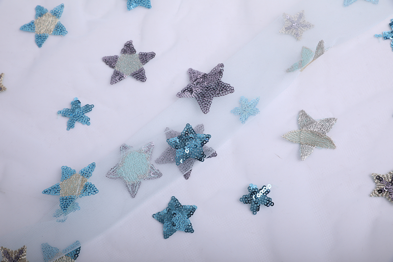 Polyester Star Embroidery Fabric