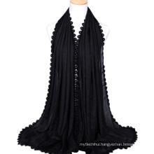 2017 most popular silk feel ladies scarf cotton hijab wholesale head scarf for women