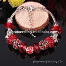 Bracelet en perles Bracelet en gros Chine amour charme 2014 Bracelet en argent à main en cristal de perles à la main pour cadeau de Noël