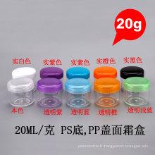 20g Round Recycled PP PS Éponge Cosmétique Vider Vide Coussin Crème