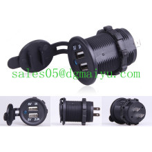 Мотоцикла автомобиля 12V/24V двойной USB из светодиодов зарядное устройство адаптер гнездо
