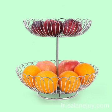 Simple Houseware 2 Tier Countertop Stainless Steel Modern Kitchen Vegetable Storage Bowl Livingroom Fruit Basket