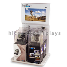 Custom Size Store Metal Wood Small Lcd Camera And Accessories Advertising Kiosk Countertop Display
