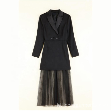 Super Star Brilliant Suit Collar Mesh Dress