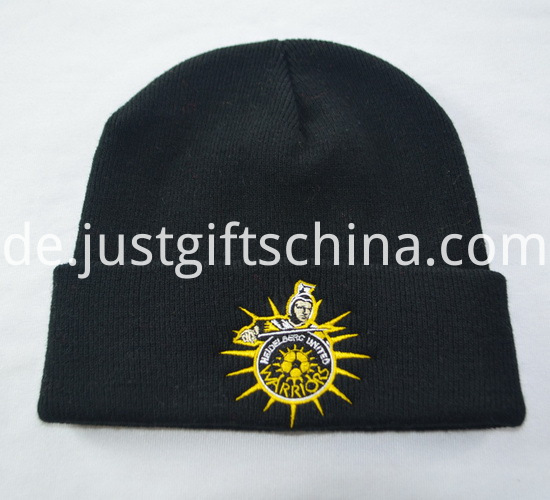 Promotional Black Knitted Caps with Logo2