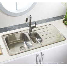 Inset 1.5 Bowl Stainless Steel Topmount Kitchen Sink with Drainer