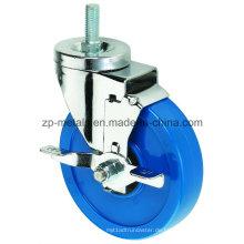 3inch mittlere Größe Biaxial Blue Thread PVC Caster Räder mit Seitenbremse