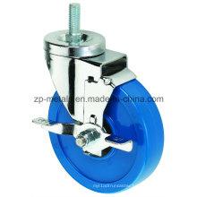 3inch Medium Sized Biaxial Blue Thread PVC Caster Wheels with Side Brake