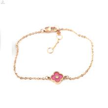 Valentines Geschenk Rose Gold IP plattiert Zirkon Glück vier Leaf Clover Armbänder