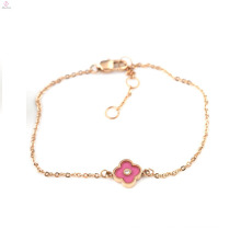 Valentines Gift Rose Gold IP Plated Zircon Lucky Four Leaf Clover Bracelets