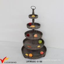 5 уровней Декоративные коричневые деревянные круглые поднос лоток