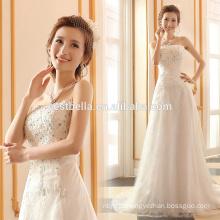 A-Line Silhouette and Sleeveless Design vestidos de noiva Vestidos de noiva de cristal e bling