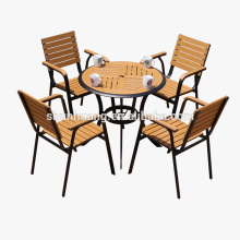 Hot selling good quality outdoor patio furniture aluminum furniture dining set plastic wood table set garden furniture