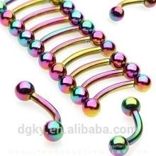 KaiYu nouveau titane-plaqué-courbe-barbells-avec-arc-en-balles