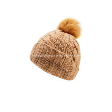 Girl's Knitted Cable Faux Fur Pompom Beanie Cap
