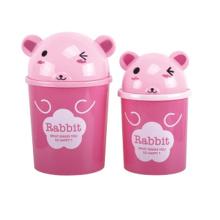 Pink Rabbit Design Plastic Flip-on Garbage Bin (A11-5806)