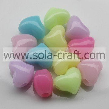 12*14*15MM Jelly Mixed Color Plastic Heart Charm Beads Pattern