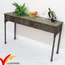 Luckywind Shabby Chic Старинный промышленный металлический консольный стол