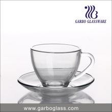 Tasse à café et soucoupe en verre simple de 230 ml