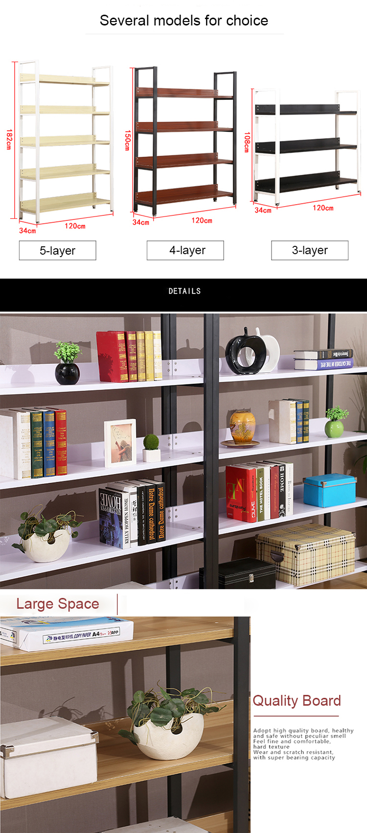 Multilayer Flexible Book Display Shelf
