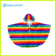 Fashion Stripe Printed Kids Rain Poncho Polyester Children′s Rain Poncho