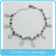 Joyería de acero inoxidable Ocho Virgen María Medalla Charm Religiones Bead Womens Ankle Bracelet