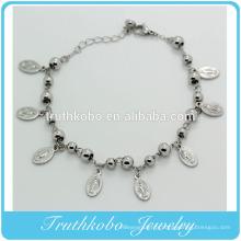 Bijoux en acier inoxydable Huit Vierge Marie Médaille Charme Religion Perle Womens Ankle Bracelet