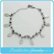 Stainless Steel Jewelry Eight Virgin Mary Medal Charm Religions Bead Womens Ankle Bracelet