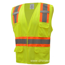 High Visibility Two Tone 5 Points Breakaway Safety Vest 100% Polyester Mesh