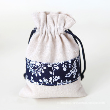 BSCI factory custom wholesale cotton and linen fabric pouch reusable storage bag drawstring bag