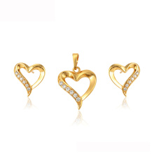 64785 xuping Mother's day gift heart shape 24k gold plated Dubai jewelry set