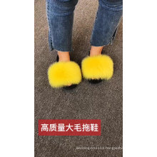 HJTX07 Wholesale Luxury Fluffy And Big Soft Real Fox Fur Slides For Women