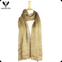 Women′s Shine Foil Print Acrylic Knitted Long Scarf